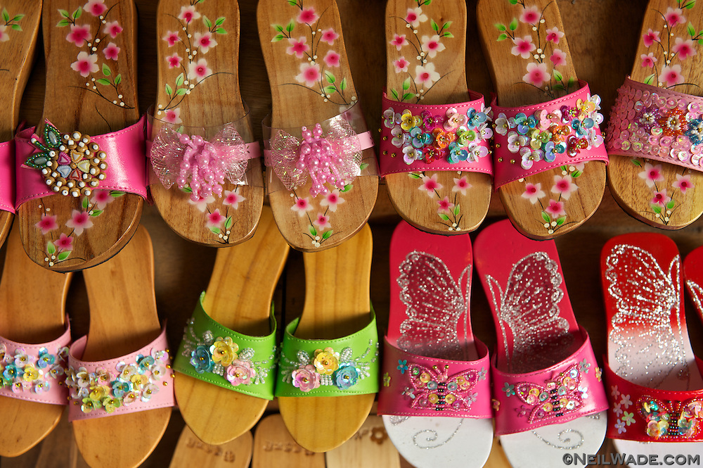 Hand made, wooden sandals for sale on the Shenkeng Old Street.
