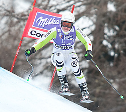 20.01.2011, Tofana, Cortina d Ampezzo, ITA, FIS World Cup Ski Alpin, Lady, Cortina, Abfahrt 2. Training, im Bild Blick von den Tribühnen im Bild Viktoria Rebensburg (GER, #16) // Viktoria Rebensburg (GER) during FIS Ski Worldcup ladies downhill second training at pista Tofana in Cortina d Ampezzo, Italy on 20/1/2011. EXPA Pictures © 2011, PhotoCredit: EXPA/ J. Groder