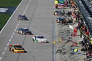 during a NASCAR Xfinity Series auto race at Kansas Speedway in Kansas City, Kan., Saturday, Oct 18, 2018. (AP Photo/Colin E. Braley)