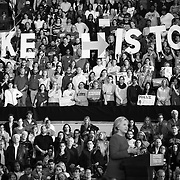Raleigh, NC - November 7,  2016: Hillary Clinton addresses the crowd of supporters inside the Reynolds Coliseum on the campus of North Carolina State. This is the final stop of the campaign before election day.  CREDIT: LOGAN R CYRUS