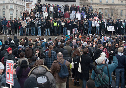 © under license to London News Pictures. 30/11/2010. Students march in London for the third time to protest against the raising of tuition fees. After being escorted past Buckingham Palace protesters stand at the bottom of Nelson's Column.  Credit should read Matt Cetti-Roberts/London News Pictures