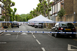 © Licensed to London News Pictures. 28/05/2019. London, UK. A crime scene on Warwick Road, Forest Gate, East London where a man in his 30s died in the early hours of this morning.<br /> Police officers were called after the victim was found suffering from stab injuries following a flight. He died later in the hospital. Photo credit: Dinendra Haria/LNP CAPTION UPDATED WITH CORRECT DATE