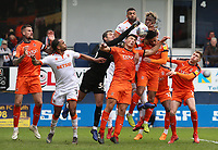 Blackpool's Curtis Tilt & Armand Gnanduillet scramble for the ball in the Luton box<br /> <br /> Photographer David Shipman/CameraSport<br /> <br /> The EFL Sky Bet League One - Luton Town v Blackpool - Saturday 6th April 2019 - Kenilworth Road - Luton<br /> <br /> World Copyright © 2019 CameraSport. All rights reserved. 43 Linden Ave. Countesthorpe. Leicester. England. LE8 5PG - Tel: +44 (0) 116 277 4147 - admin@camerasport.com - www.camerasport.com