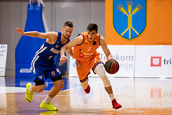 Zan Kosic of KK Rogaska and Nejc Klavzar of KK Helios Suns during basketball match between KK Helios Suns and KK Rogaska in ABA League Second division, on October 31, 2018 in Sports hall Domzale, Domzale, Slovenia. Photo by Urban Urbanc / Sportida
