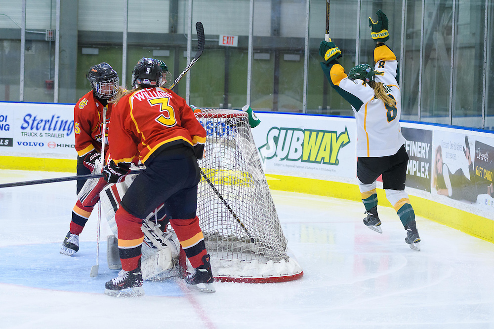 4th year forward Bailey Braden (8) of the Regina Cougars in action during the Women's Hockey Game on November 25 at Co-operators arena. Credit: Arthur Ward/Arthur Images