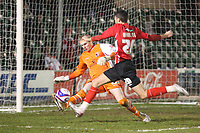 Photo: Pete Lorence/Sportsbeat Images.<br />Lincoln City v Darlington. Coca Cola League 2. 22/12/2007.<br />Owain Warlow comes close, but David Stockdale ensures Darlington keeps a clean sheet.