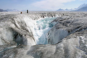 """Sinkholes on Glaciers<br /> <br /> Just like rainwater dissolves the bedrock on the Earth's crust and form sinkholes, meltwater on a glacier's surface can melt ice and form sinkholes too. Sinkholes on glaciers are called moulins, French for """"mill"""". Moulins form when summer meltwater streams on the surface of the glacier finds a crevasse or other weak spot in the ice and begins to pour down through the ice. As the water moves downward, its turbulence and heat creates a narrow, tubular and vertical shaft, up to 10 meters wide, that can go all the way down to the bottom of the glacier, hundreds of meters deep. Water entering a moulin eventually exits the glacier at base level where it acts like a lubricating fluid, that plays a big role on how fast the glacier flows. The melting water accelerates the glacier's flow to the sea, where large chunks break off to form icebergs, leading to further ice loss by speeding disintegration of the ice sheet.<br /> <br /> Given enough water flow, a moulin can easily form over the course of just a month. Once formed, the shaft will stay open as long as there is meltwater to feed the moulin. If the meltwater freezes, the moulin will begin to fill up with snow and close up. Some moulins have been observed to be present in the same spot for multiple years, though the spot will constantly move forward with the flow of the ice.<br /> ©Exclusivepix Media"""