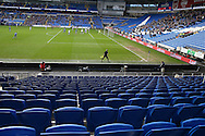 general view of the match from one of the empty stands, the match was played with a very low attendance. The Emirates FA Cup, 3rd round match, Cardiff city v Fulham at the Cardiff city stadium in Cardiff, South Wales on Sunday 8th January 2017.<br /> pic by Andrew Orchard, Andrew Orchard sports photography.