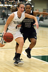 25 November 2014:  Rebekah Ehresman and Malia Smith during an NCAA women's division 3 CCIW basketball game between the Wisconsin Whitewater Warhawks and the Illinois Wesleyan Titans in Shirk Center, Bloomington IL