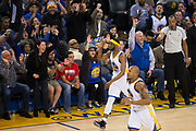 Golden State Warriors guard Ian Clark (21) celebrate a three pointer against the Houston Rockets at Oracle Arena in Oakland, Calif., on March 31, 2017. (Stan Olszewski/Special to S.F. Examiner)