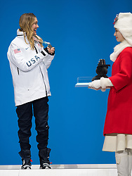 March 12, 2018 - Pyeongchang, South Korea - Amy Purdy of the US celebrates her silver medal win in Women's Snowboard Cross during a Medal Ceremony Monday, March 12, 2018 at the Medals Plaza for the 2018 Pyeongchang Winter Paralympic Games. Photo by Mark Reis (Credit Image: © Mark Reis via ZUMA Wire)