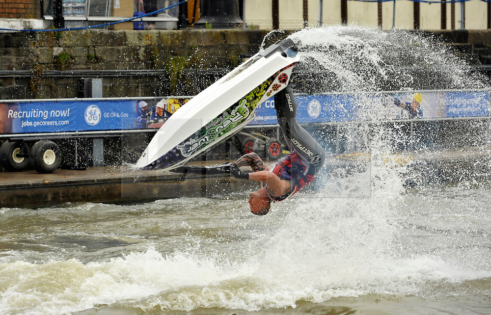 © Licensed to London News Pictures. 27/07/2013. Bristol, UK.  The Bristol Harbour Festival 2013, sponsored by GE.  Picture of Freestyle jet-skiing with 2012 European champion Joel Doorbar.  27 July 2013.<br />