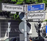 Berlin-Grünau. GERMANY. Street signs corner of  Wassersportallee and Regattastrasse, Berlin-Grünau.  ,  Frühregatta Saturday 30/04/2011 [Mandatory Credit; Peter Spurrier/Intersport-images]