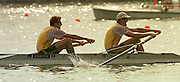 1999 World Rowing Championships St Catherines Canada. AUS M2- James TOMKINS  and, Bow Drew GINN, approaching the finishing line in the final of the men's pair. [Mandatory Credit Peter Spurrier Intersport Images] 1999 FISA. World Rowing Championships, St Catherines, CANADA