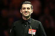 Mark Selby (Eng) has a joke. Barry Hawkins (Eng) v Mark Selby (Eng) , Quarter-Final match at the Dafabet Masters Snooker 2017, at Alexandra Palace in London on Friday 20th January 2017.<br /> pic by John Patrick Fletcher, Andrew Orchard sports photography.