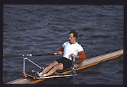London. United Kingdom.  1990 Scullers Head of the River Race. River Thames, viewpoint Chiswick Bridge Saturday 07.04.1990<br /> <br /> [Mandatory Credit; Peter SPURRIER/Intersport Images] 19900407 Scullers Head, London Engl