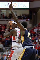 "09 December 2017:  Milik Yarbrough looks for a way around Leroy ""Shaq"" Buchanan during a College mens basketball game between the Murray State Racers and Illinois State Redbirds in  Redbird Arena, Normal IL"
