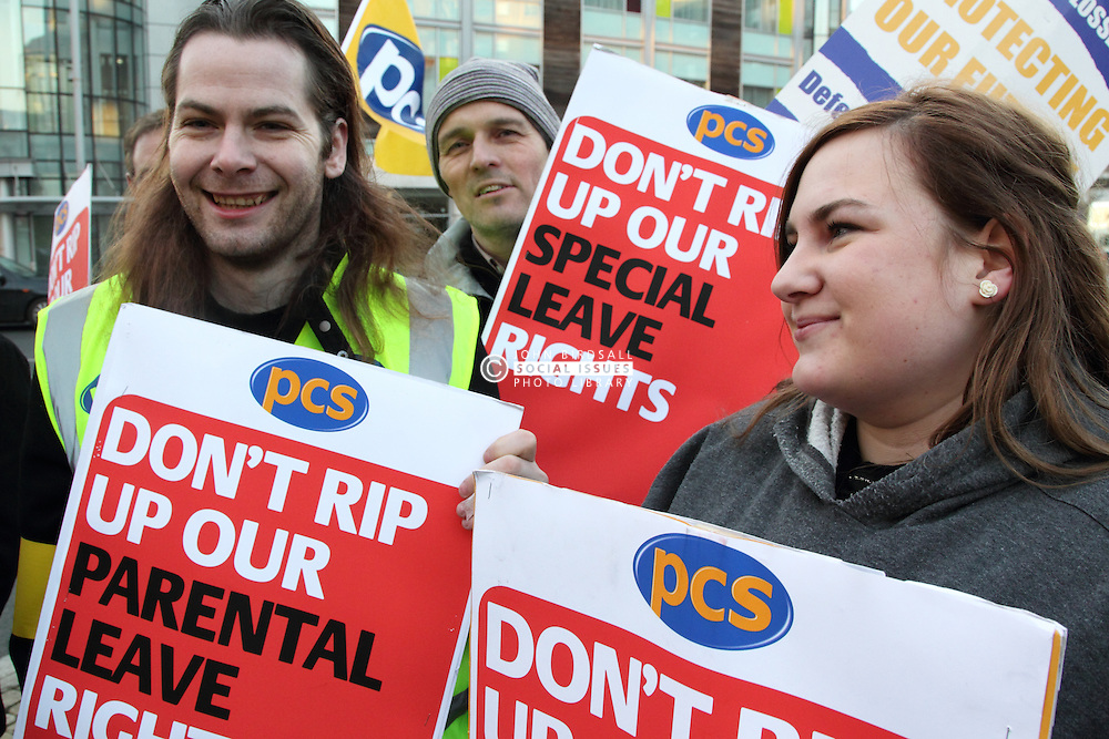PCS Union demonstrators with posters.
