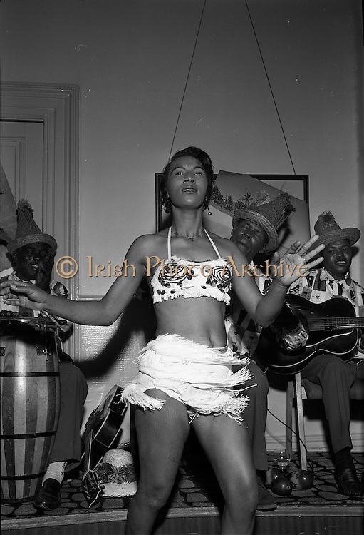 """11/05/1962<br /> 05/11/1962<br /> 11 May 1962<br /> Bahamas Travel Association Reception in the Shelbourne Hotel, Dublin. 26yr-old Bahamas Dancer Olga Olivier, fire dancer with Bahamas Travel Group. Dancing during the reception was stopped by management of the hotel """"as the chandelier of the room under the reception room was shaking"""". Next time they suggested that the ballroom be used for the reception!"""
