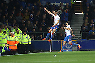 Scott Dann of Crystal Palace (l) celebrates after scoring his teams 1st goal. Barclays Premier league match, Everton v Crystal Palace at Goodison Park in Liverpool, Merseyside on Monday 7th December 2015.<br /> pic by Chris Stading, Andrew Orchard sports photography.