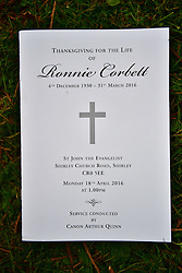 © Licensed to London News Pictures. 18/04/2016. Shirley, UK. The order of service at The funeral of comedian, actor, writer Ronnie Corbett, held at St John the Evangelist Church in Shirley near Croydon. Corbett, who was most famous for his comedy sketch show  The Two Ronnies, performed with the late Ronnie Barker, died at the age of 85. Photo credit: Ben Cawthra/LNP