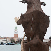 VENICE, ITALY - FEBRUARY 04:   A  view of the Grand Canal at Punta della Dogana facing  Saint  Mark's where a model of a giant bull - the 2012 edition symbol - has been placed on February 4, 2012 in Venice, Italy. The Carnival of Venice (Carnevale di Venezia) is an annual festival and starts 40 days before Easter and ends on Shrove Tuesday ( Martedì Grasso).  (Photo by Marco Secchi/Getty Images)