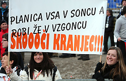 Fans of Robert Kranjec of Slovenia with a transparent at e.on Ruhrgas FIS World Cup Ski Jumping on K215 ski flying hill, on March 14, 2008 in Planica, Slovenia . (Photo by Vid Ponikvar / Sportal Images)./ Sportida)