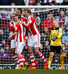 Stoke Midfielder Steven N'Zonzi (FRA) celebrates scoring a goal with his teammates - Photo mandatory by-line: Rogan Thomson/JMP - 07966 386802 - 23/03/2014 - SPORT - FOOTBALL - Villa Park, Birmingham - Aston Villa v Stoke City - Barclays Premier League.