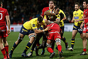 Peceli Yato of Clermont and and Dylan Cretin of Lyon and Damien Chouly of Clermont and Etienne Oosthuizen of Lyonduring the French championship Top 14 Rugby Union match between Lyon OU and Clermont on February 17, 2018 at Groupama stadium in Lyon, France - Photo Romain Biard / Isports / ProSportsImages / DPPI