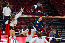 BLOOMINGTON, IL - September 15: Gwyn Jones strikes the ball towards Sarah Kushner during a college Women's volleyball match between the ISU Redbirds and the Marquette Golden Eagles on September 15 2019 at Illinois State University in Normal, IL. (Photo by Alan Look)