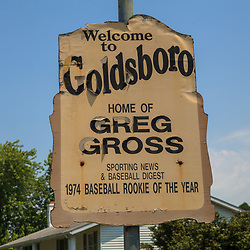Goldsboro, PA, USA - June 28, 2012: A marker sign of Welcome to Goldsboro. Home of Greg Gross. The borough is located along the Susquehanna River.