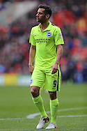 Sam Baldock of Brighton & Hove Albion looks on. Skybet football league championship match, Charlton Athletic v Brighton & Hove Albion at The Valley  in London on Saturday 23rd April 2016.<br /> pic by John Patrick Fletcher, Andrew Orchard sports photography.
