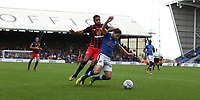 Oldham Athletic's Rob Hunt shields the ball from Blackburn Rovers' Dominic Samuel<br /> <br /> Photographer Stephen White/CameraSport<br /> <br /> The EFL Sky Bet League One - Oldham Athletic v Blackburn Rovers - Saturday 14th October 2017 - Boundary Park - Oldham<br /> <br /> World Copyright © 2017 CameraSport. All rights reserved. 43 Linden Ave. Countesthorpe. Leicester. England. LE8 5PG - Tel: +44 (0) 116 277 4147 - admin@camerasport.com - www.camerasport.com