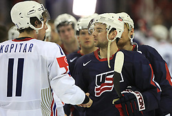 Anze Kopitar (11) of Slovenia and his friend Patrick O Sullivan (9) at ice-hockey match USA vs Slovenia at Preliminary Round (group B) of IIHF WC 2008 in Halifax, on May 04, 2008 in Metro Center, Halifax, Nova Scotia, Canada. (Photo by Vid Ponikvar / Sportal Images)