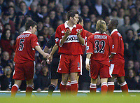 Fotball<br /> Premier League 2004/05<br /> Tottenham v Middlesbrough<br /> 28. november 2004<br /> Foto: Digitalsport<br /> NORWAY ONLY<br /> Middlesbrough's Franck Queudrue turns in disbelief after being given a straight red card by referee P.Dowd for a foul on Tottenham's Noe Pamarot