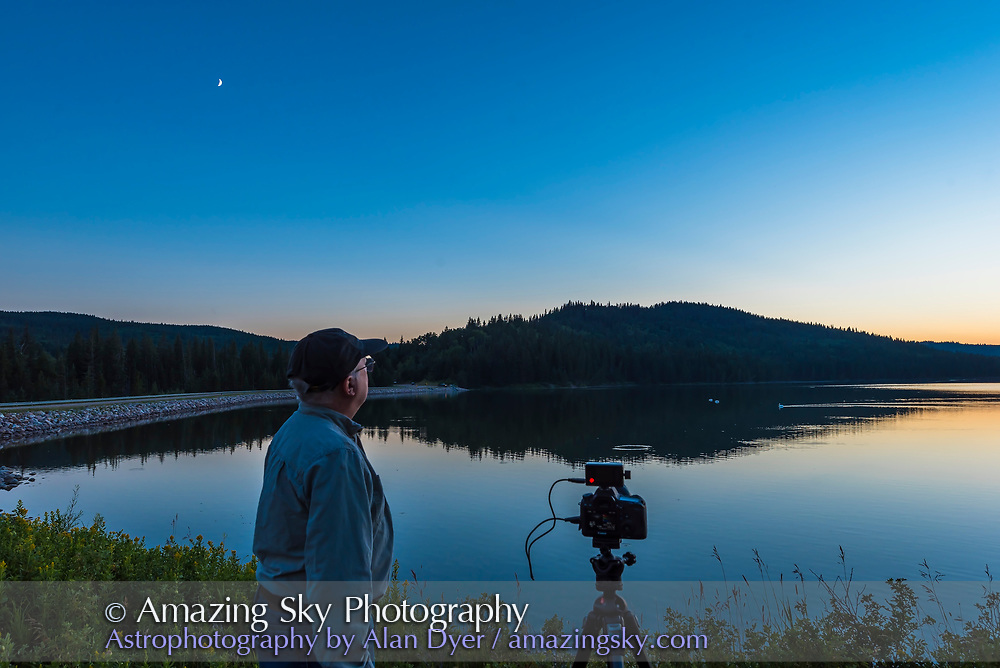 """A selfie with the other camera shooting a sunset-to-night-sky """"holy grail"""" time-lapse, at Reesor Lake in Cypress Hills Interprovincial Park, July 28, 2017. The camera was using the TimeLapse+ View bramping intervalometer."""