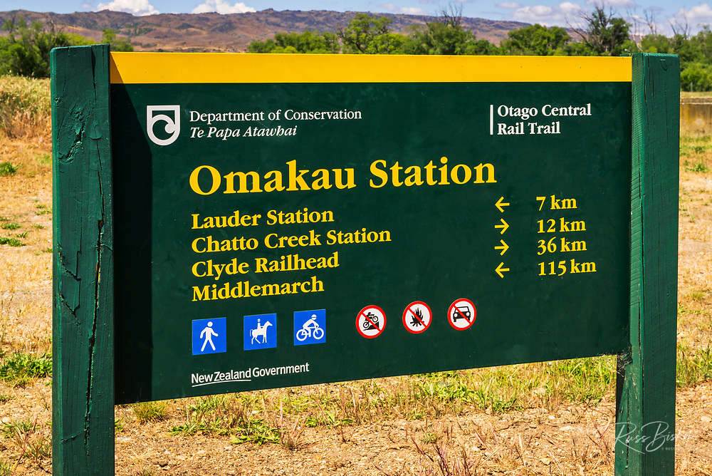 Omakau Station sign on the Otago Central Rail Trail, Otago, South Island, New Zealand