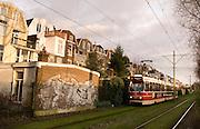 Tram over de Conradkade, Den Haag.Tram in The Hague, Netherlands