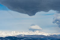 All morning long I watched fascinating lenticular clouds form around Squaw Mountain. This view is looking at Longs Peak.