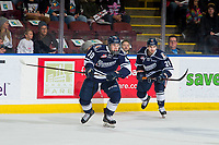 KELOWNA, BC - FEBRUARY 02:  Jerzy Orchard #21 and Logan Stankoven #10 of the Kamloops Blazers skate against the Kelowna Rockets at Prospera Place on February 2, 2019 in Kelowna, Canada. (Photo by Marissa Baecker/Getty Images)