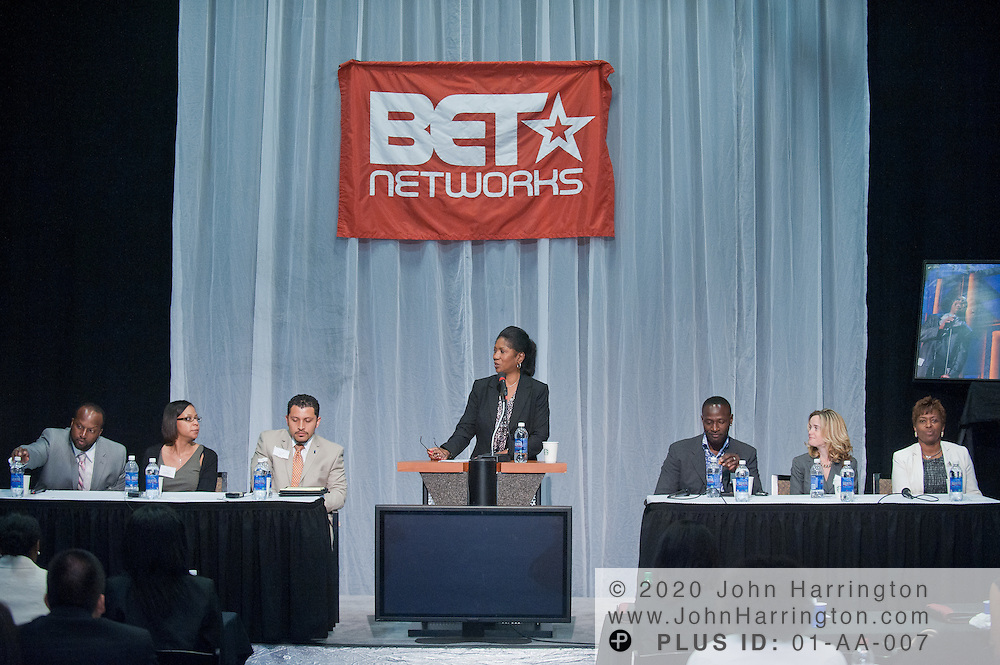 The T. Howard Foundation intern orientation kicks off at the BET Studios in Washington, DC with a panel discussion featuring several executives in the communications industry including, (from left to right) Marcus Clifton, Counsel, at The Roberts Law Group PLL and BET, Lorisa Bates, Senior Director of Programming at Showtime Networks, Luis Campillo, Associate at the Ibarra Strategy Group, Josephine Pamphile, President of the T. Howard Foundation, Keith Lawson, Executive Producer and Senior Director of Production in Ad Sales at BET, Barbara Dorsey-Cowan, Director of Talent at Comcast Spotlight, and Karen Thompson, Manager of Human Resources at BET. The orientation took place on June 2nd, 2011.
