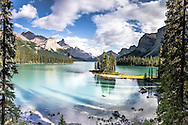 Spirit Island of Maligne Lake in Spirit Island in Jasper National Park.   The jagged peaks of the Queen Elizabeth Range towering above. This gem of the Canadian Rockies is Canada's most recognizable icons for obvious reasons.
