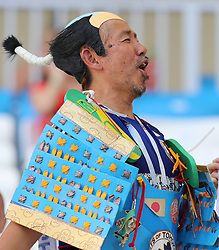 VOLGOGRAD, June 28, 2018  A fan is seen prior to the 2018 FIFA World Cup Group H match between Japan and Poland in Volgograd, Russia, June 28, 2018. (Credit Image: © Yang Lei/Xinhua via ZUMA Wire)