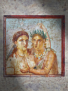 A Roman erotic fresco painting from Pompeii depicting satyr caressing a maiden,  Naples National Archaeological, 1st cent AD , from the Casa di L Cecilio Giocondo, inv no 110590 , Secret Museum or Secret Cabinet, .<br /> <br /> If you prefer to buy from our ALAMY PHOTO LIBRARY  Collection visit : https://www.alamy.com/portfolio/paul-williams-funkystock - Scroll down and type - Roman Art Erotic  - into LOWER search box. {TIP - Refine search by adding a background colour as well}.<br /> <br /> Visit our ROMAN ART & HISTORIC SITES PHOTO COLLECTIONS for more photos to download or buy as wall art prints https://funkystock.photoshelter.com/gallery-collection/The-Romans-Art-Artefacts-Antiquities-Historic-Sites-Pictures-Images/C0000r2uLJJo9_s0