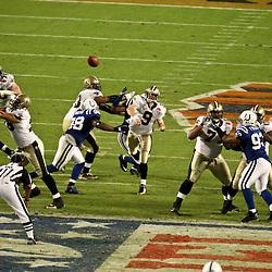 2010 February 07: New Orleans Saints quarterback Drew Brees (9) throws a pass against the Indianapolis Colts during a 31-17 win by the New Orleans Saints over the Indianapolis Colts in Super Bowl XLIV at Sun Life Stadium in Miami, Florida.