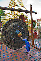 Bangkok the temple gong at Wat Sareerikatart Sirirak in Chiang Mai's old city.
