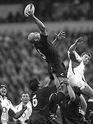 Twickenham. Surrey. UK England vs New Zealand, Autumn Internationals.<br /> Keith ROBINNSON get's a hand to the ball in the line out.<br /> 11/11/2002<br /> International Rugby - England v New Zealand<br /> All Blacks lock Keith Robinson diverts the line out ball [Mandatory Credit Peter SPURRIER/Intersport Images]