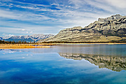 Rocky Mountains reflected in Talbot Lake<br /> Jasper National Park<br /> Alberta<br /> Canada