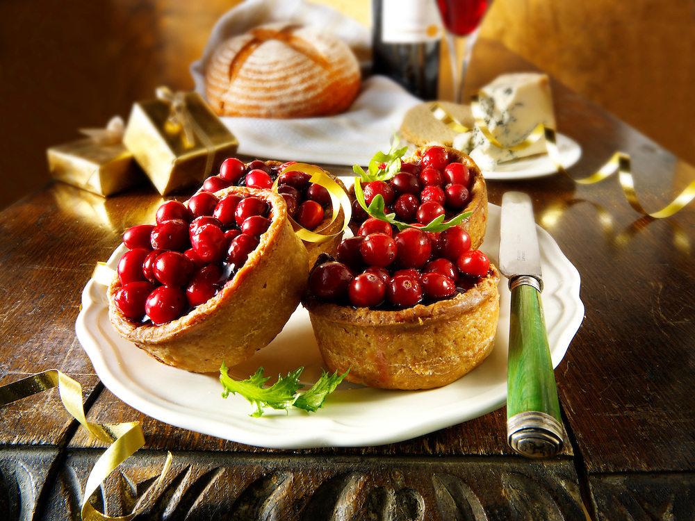Traditional Cranberry topped pork pies stock photos
