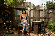 06/27/19 Grass Valley, CA: Jill Hill poses for a portrait in her garden at her home in Grass Valley, CA on June 27, 2019. Jill Hill is a patient who uses  telemedicine at the Chapa-de Indian Health Clinic in Grass Valley, CA on June 27, 2019.<br /><br /><br />Photo by Salgu Wissmath for NPR